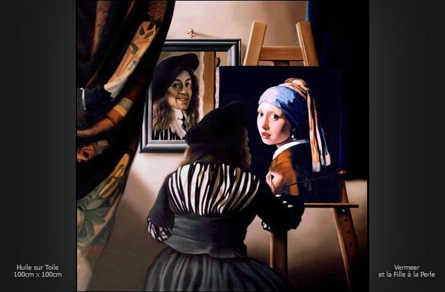 Portrait à l'huile de Johannes Vermeer, (d'après des autoportraits ... Katie Holmes